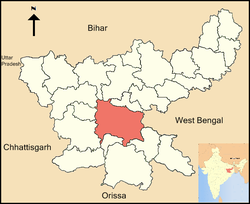 Location of Ranchi district in Jharkhand