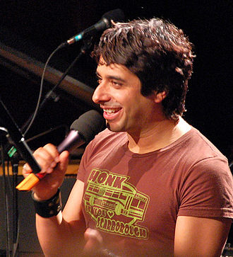 Jian Ghomeshi - Ghomeshi hosting a live taping of his radio show Q in Vancouver, March 26, 2009