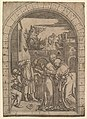 Joachim embracing Saint Anne under the golden gate in Jerusalem, after Dürer MET DP820352.jpg