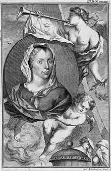 Portrait of joanna koerten by jacobus houbraken after a painting by