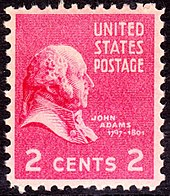 Historical 2-cent stamp with John Adams's profile.