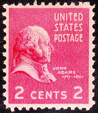 Presidency of John Adams - John Adams, 2-cent U.S. postage stamp, 1938 Presidential Series