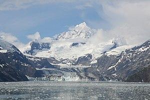 Johns Hopkins Glacier - Image: John Hopkins Glacier Bay Mount Orville Mount Wilbur Alaska 2014
