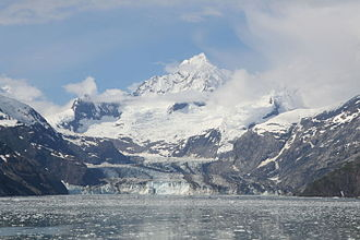 Johns Hopkins Glacier - Image: John Hopkins Glacier Bay Mount Orville Mount Wilbur Alaska 2014