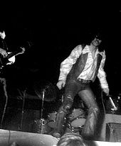 Two performers from Steppenwolf are shown in an onstage performance. From left to right are an electric guitarist (only the instrument is shown) and singer John Kay, who is swinging the microphone.