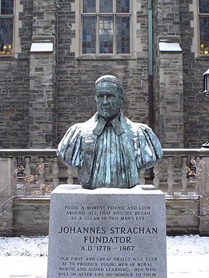 John Strachan - The bust of Strachan in the Trinity quad, Trinity College, Toronto, as seen on a winter morning
