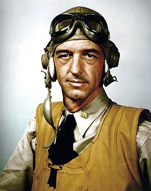 John Thach - LCDR John S. Thach wearing M-450 helmet, AN6530 goggles and inflatable life vest, 1942.