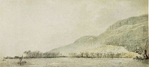 Kidnapping of Kalaniʻōpuʻu by Captain James Cook - Image: John Webber 'Kealakekua Bay and the village Kowroaa', 1779, ink, ink wash and watercolor