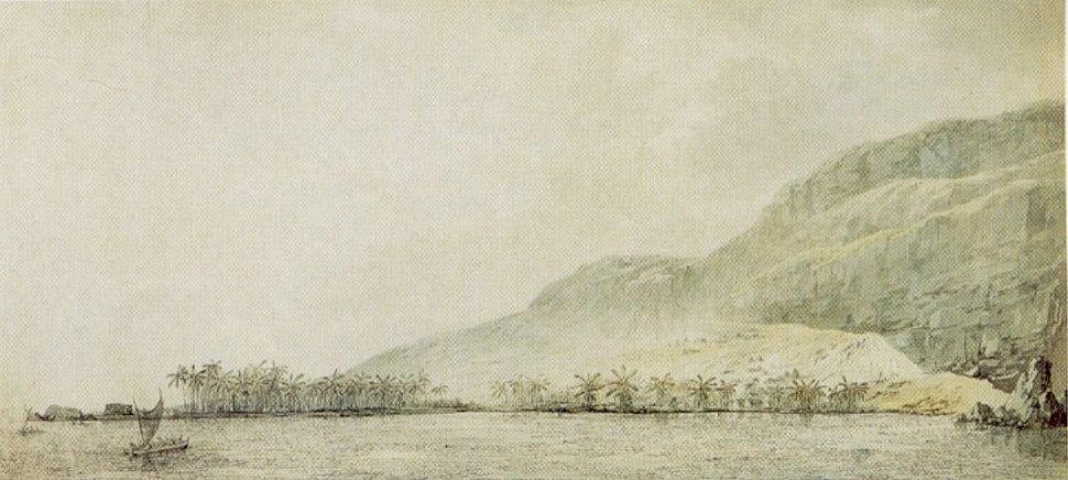 John Webber - 'Kealakekua Bay and the village Kowroaa', 1779, ink, ink wash and watercolor