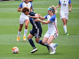 Julie Ertz - Yuika Sugasawa is fouled by Ertz in the 13th minute of the match between the United States and Japan on June 5, 2016