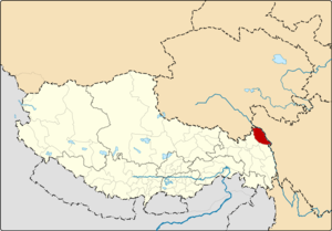 Location of Jomda County within Tibet