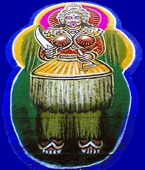 Jumadi - A depiction of Jumadi created for the Buta Kola festival at the Belle Badagumane House, Udupi (2008 CE)