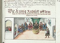 Depiction of a Hoftag from the chronicle of the Bishops of Würzbürg, non-contemporary