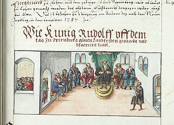 Rudolf proclaims peace in the country on a court day, from the chronicle of the bishops of Würzburg by Lorenz Fries, mid-16th century
