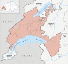 """Mapa konturowa Vaud, blisko centrum po prawej na dole znajduje się punkt z opisem """"Montreux"""""""