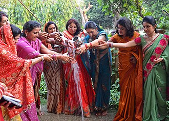 Karva Chauth - The fasting women after performing the Karva Chauth puja, while offering water towards sun (arka)