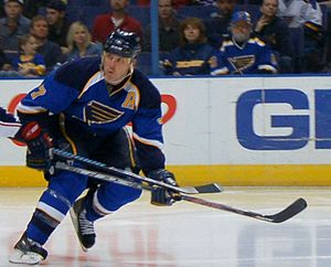 St. Louis Blues - Keith Tkachuk played for the Blues from 2000 to 2006 and again from 2007 to 2010. During his time with the team he became the third American player to score 500 goals, and the sixth American player to reach 1000 points.