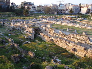 Kerameikos - Inner Kerameikos, view northwest. Sacred Gate on the left, Pompeion on the right.