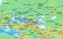 A map depicting Central and Eastern Europe, the frontiers of the Khazar Khaganate and the names of the peoples surrounding it