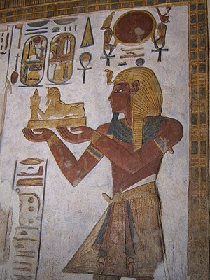 Ramesses III - Relief from the sanctuary of the Temple of Khonsu at Karnak depicting Ramesses III