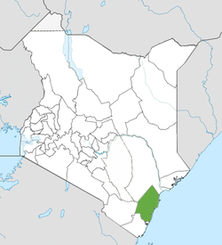 Location of Kilifi County (green)