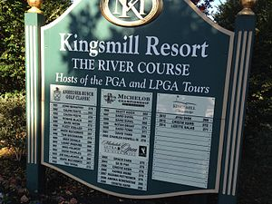 Kingsmill Championship - Sign outside Kingsmill Golf Club showing winners of the events