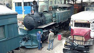 Meyer locomotive - Kitson-Meyer 3348, under restoration at Los Andes Chile, 2013