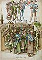 Konstanzer Richental Chronik Fest der Florentiner Geldwechsler, Posaunenbläser und Prozession durch die Stadt 66v.jpg
