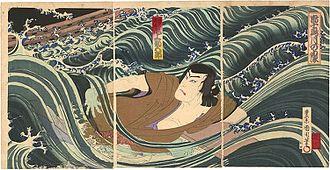 Toyohara Kunichika - Triptych by Toyohara Kunichika: Onoe Kikugorō V as Akashi no Naruzō in the play Shima Chidori Tsuki no Shiranami (1890)
