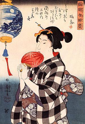 Kuniyoshi Utagawa, Japan, Woman with fan