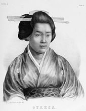 Black-and-white portrait print of a Japanese woman