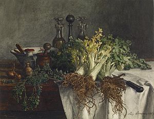 Léon Bonvin - Léon Bonvin - Still Life on Kitchen Table with Celery, Parsley, Bowl, and Cruets - Walters 371504, watercolor and brush with graphite underdrawing, pen and iron gall ink, and gum varnish on heavily textured, moderately thick, cream wove paper.