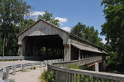 A covered bridge in the township