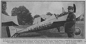 Eugène Gilbert -  Gilbert with Morane-Saulnier combat monoplane during WW1