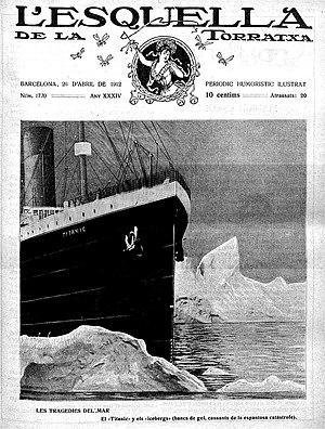 L'Esquella de la Torratxa - April 1912 issue with the Titanic on the cover