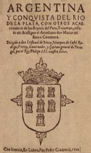 Name of Argentina - Cover of the first edition of the poem La Argentina by Martín del Barco Centenera, 1602