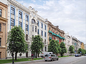 Mikhail Eisenstein - Alberta iela, Riga. The three buildings closest to the viewer were all designed by Eisenstein