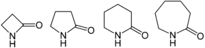 Lactam - From left to right, general structures of a β-lactam, a γ-lactam, a δ-lactam, and an ε-lactam. The specific structures are β-propiolactam, γ-butyrolactam, δ-valerolactam, and ε-caprolactam.