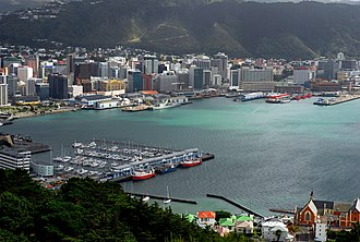 Reclamation of Wellington Harbour - The harbour as it looks today from Mount Victoria.