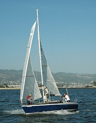 Sailcloth - Modern yacht with laminate sails.
