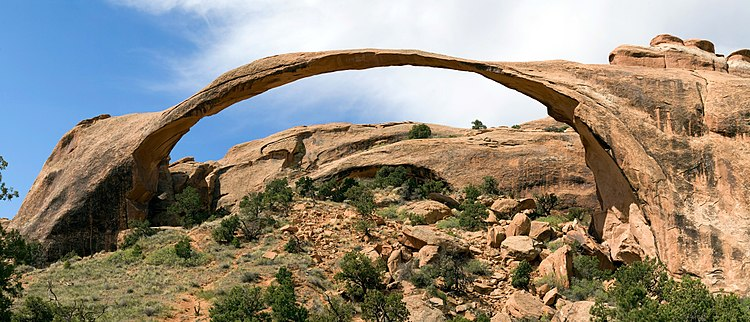 Landscape Arch is the longest of the many natural arches located in Arches National Park, Utah.