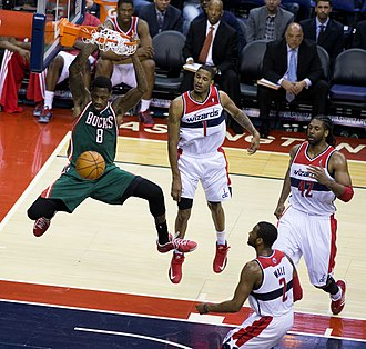 Larry Sanders (basketball) - Sanders dunking in a game against the Washington Wizards in March 2013