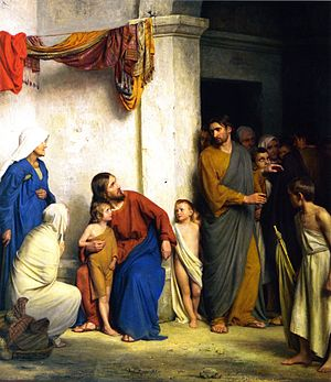 Teaching of Jesus about little children - Christ with children by Carl Heinrich Bloch