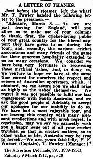 English cricket team in Australia in 1911–12