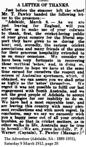 English cricket team in Australia in 1911–12 - Letter of thanks from the English Captain P.F. Warner for the tour