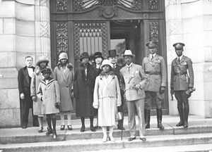 Liberia - Charles D. B. King, 17th President of Liberia (1920–1930), with his entourage on the steps of the Peace Palace, The Hague (the Netherlands), 1927.