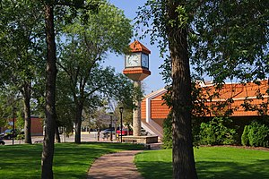 North Battleford - Library Clock as Seen from Central Park
