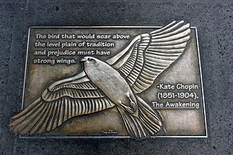 """The Awakening (Chopin novel) - Kate Chopin plaque, New York City library walk: """"The bird that would soar above the level plain of tradition and prejudice must have strong wings."""""""