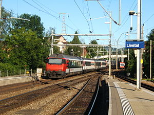 Liestal railway station - Liestal station, with main line to left and Waldenburg line to right