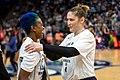 Lindsay Whalen (13) talks with Danielle Robinson 3) before the Lynx vs Mystics game.jpg